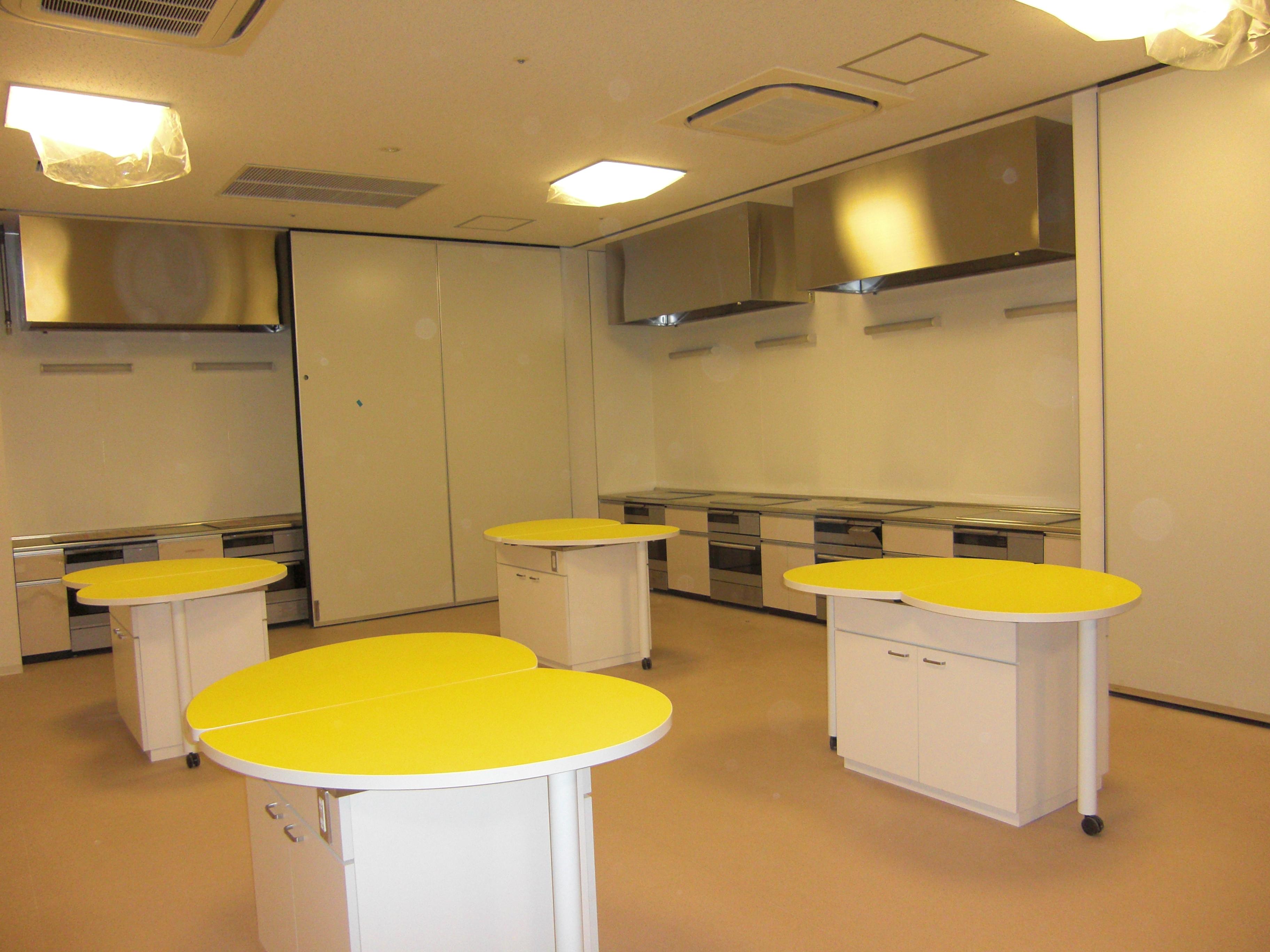 調理室。右奥はIHテーブル。前のテーブルは流し台。蛇口は収納式。
